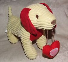 2012 Animal Adventure Yellow Red Corduroy Stuffed Dachshund Dog Heart Valentines