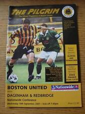 19/09/2001 Boston United v Dagenham And Redbridge [Last Non League Season] (No a