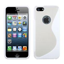 Apple iPhone 5 5S SE TPU Gummy S-Line Flexi Skin Case Cover White Clear S-Shape