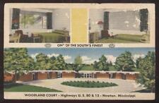 Postcard NEWTON,Mississippi/MS  Woodland Motor Court Tri-view 1930's?