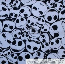 BonEful FABRIC FQ Cotton Quilt Black White B&W Skull Skeleton Face Girl Boy Xmas
