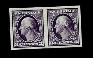 US 1908  Sc#  345 3¢  Washington  Mint LHR Imperf Pair VF Vivid Color - Centered