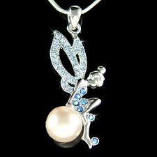 w Swarovski Crystal Blue Pearl Tinkerbell Tinker Bell Fairy Angel Charm Necklace