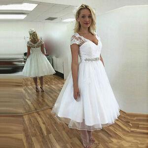 Short Wedding Dresses V-Neck Lace Beaded Sash Tea Length A Line Bridal Gown