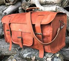 Handcrafted Leather Duffle Hold-All Bag Overnight Weekend Travel Luggage Handbag
