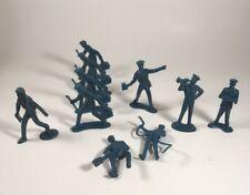 RARE Blue Plastic Marx? Figures Working Men Service Station Military Jobs x 10