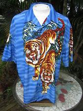 Hawaiian ALOHA shirt 2XL pit to pit 28 CLAUDIO NUCCI polyester Tigers jungle cat