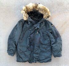 Vintage N3B Hooded Parka Jacket Snorkel Military Fur Hood USAF Air Force Stencil