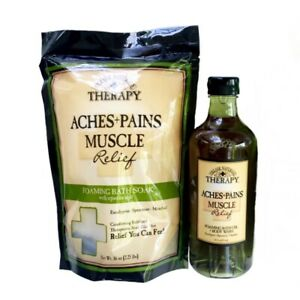 Village Naturals Therapy Aches Pains Set - Bath Oil Body Wash & Epsom Salt Soak