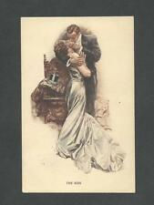 "Postcard Harrison Fisher ""The Kiss"" Water Color R185 Muinck & Co Amsterdam"