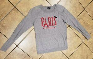 Talbots Sweater Size XS Women Gray Paris Pullover Lightweight Eiffel Tower Beret