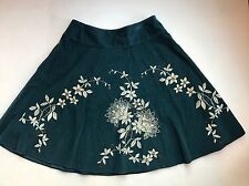 Talbots Peacock Blue Stenciled & Beaded Floral Pinwale Corduroy Circle Skirt 14