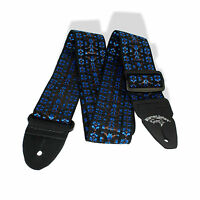 Guitar Strap 2 inch Classic Blue US Made Leather Ends 100240HB