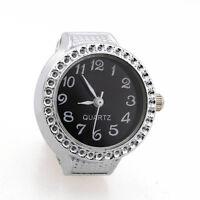 Ring Watch Quartz Silver Alloy Black Sphere for Women Dame G8S1