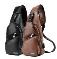 US Mens Soft Leather Chest Bag Single Shoulder Bag USB Sports Casual Bag