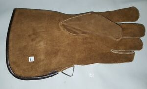 """New Falconry Glove Single Layer Large Size Suede Leather 12"""" Long(Sinopia Brown)"""