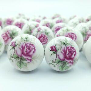 """Vintage Pink Rose Porcelain Kitchen Drawer Knobs Pulls Farmhouse 1.5"""" Lot of 31"""
