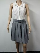 NEW - Betsey Johnson - Sleeveless Lace Top Collar Dress - Size 12 - White & Grey