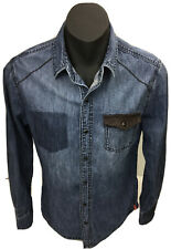 edc Mens Western Campdraft Black Pearl Snap LS Blue Denim Shirt Size S