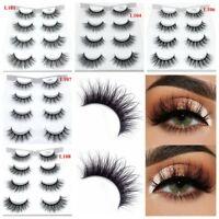 4 Pairs*3D Mink Hair False Eyelashes Thick Long Lashes Wispy Fluffy Eye Lashes