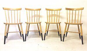 4 x Vintage Retro Mid Century Danish Era Blonde Beech 1960s Dining Chairs