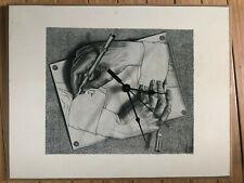 M C Escher CLOCK Drawing Hands Vtg Reproduction 14x11 ART CLOCK