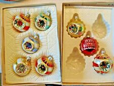 Vintage Lot of 8 Commodore and Usa Glass Ornaments 7 Indent -1 Merry Christmas