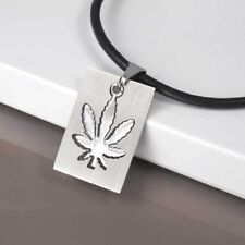 Silver Dog Tag Weed Marijuana Stainless Steel Pendant 3mm Black Leather Necklace