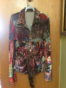 BOHO CHIC PSYCHODELIC TOP BLOUSE TIE AT WAIST VELOUR MULTI COLOR FUNKY L WOMENS
