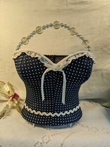 Bustier Corset Lamp Night Light With Bead Handle Blue White Polka Dot