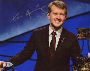 KEN JENNINGS SIGNED AUTOGRAPHED 8x10 PHOTO JEOPARDY! CHAMPION LEGEND BECKETT BAS