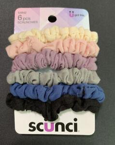 Cream, Pink, Purple, Grey Blue & Black 6pcs Scrunchies By Scunci NIP