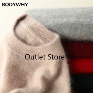 100% Mink Cashmere Sweaters and Pullovers Women Soft Sweater Half Turtleneck