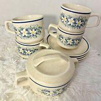 VTG Lenox Temperware Dewdrops Floral Flower Cup Saucer Mug Lot 4 Sets Sugar Bowl