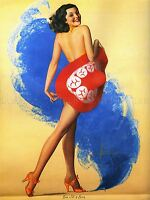 PAINTINGS PORTRAIT SHOWGIRL HAT SMOKE ART POSTER PRINT LV3400