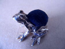 NICE VINTAGE STERLING SILVER FROG PIN CUSHION 1973