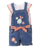 NWT Nannette Girls Bird Blue Shortalls Overalls Shirt Outfit Set 2T 3T 4T 5 6