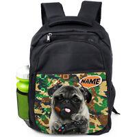 Personalised Pug Backpack School Bag Girls Boys Rucksack Sports PE CAMO Gamer