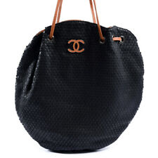 CHANEL Handbag Black Perforated Leather Cocomark Circular Tote Bag