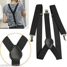 Mens Womens Unisex Elastic Braces Slim Y-Back Clip-on Belt Adjustable Suspenders