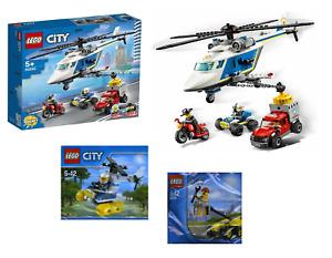 LEGO CITY 3 sets Bundle Police Helicopter Chase 60232 30229 & 30311