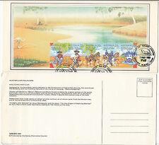 Stamps Australia 1980 Waltzing Matilda strip 5 stamp factory maximum card, nice