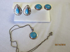 Demi Parure Sterling Silver with Turquoise Lot Pierced Earrings & Necklace .950