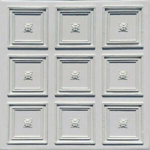 "Ceiling Wall Backsplash Tile Glue Up, PVC 20""x20"" ROCOCCO White"
