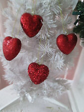 """Lot of 12 Assted Red Glitter Heart Valentines Day Ornaments, appx. 2 1/2"""" New"""