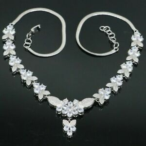 Romantic 31.8g White Sapphire Fashion Jewelry Silver Necklace 18.5-20.5inch