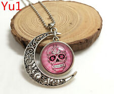 NEW Handmade pink sugar skull Hollow Moon Pendant Silver Necklace#Yu1
