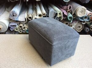 footstool / pouffe upholstered in Soft grey fabric