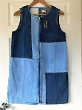 Brand New Womens River Island Denim Patch Sleeveless Dress   Size 12