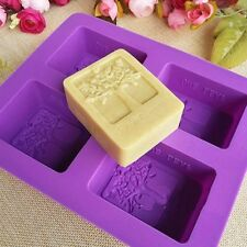 Hand mold Silicone Handmade soap mold Rectangular Cake Craft tree mold Four-hole